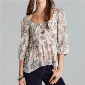 Free People Ever After Smocked Boho Peasant Top